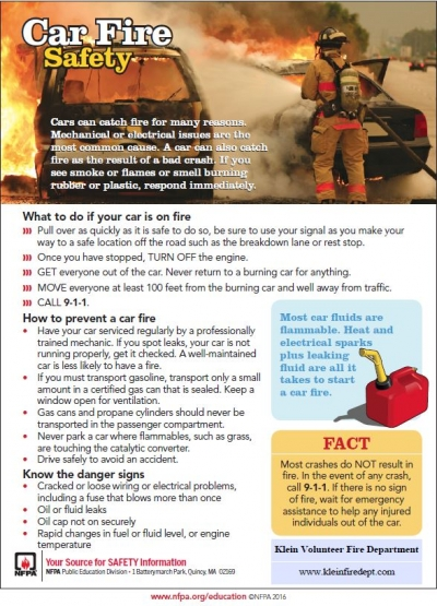 Car Fire Safety Tips - Klein Volunteer Fire Department